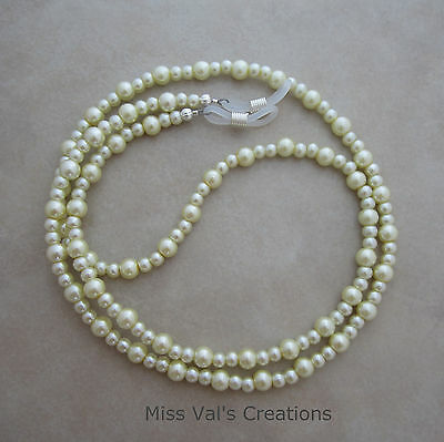 Handcrafted cream pearl eyeglass chain holder 29.5 inch lanyard silver ends