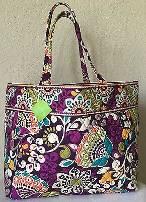 VERA BRADLEY ~  Authentic GRAND TOTE  in PLUM CRAZY ~ I HAVE OTHERS ~ TRAVEL