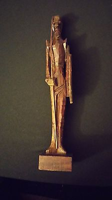 Rare Vintage Carved Wooden Man Of La Mancha Antique Warrior Statue ~ Mexico