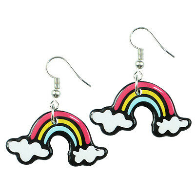 TFB - RETRO RAINBOW CLOUD DANGLE EARRINGS Drop Novelty Sweet Quirky Cool Funky