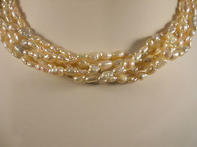 Sterling Silver, Five Strands Rice Shape Sea Pearl And Freshwater Pearl Necklace