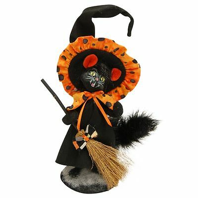 """Checker Dot Witch BLACK Cat 4"""" ~ SpOOkY & Cute! Bendable Decoration  Annallee"""
