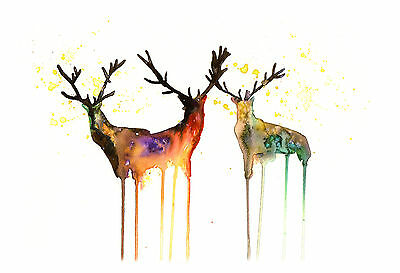 Stags Original Watercolour Modern Print Signed Pop Art Abstract Nature Animals