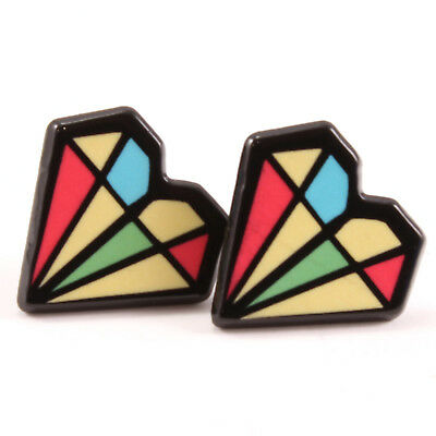 TFB - GEOMETRIC HEART STUD EARRINGS Girls Funky Retro Trendy Cool Novelty Quirky