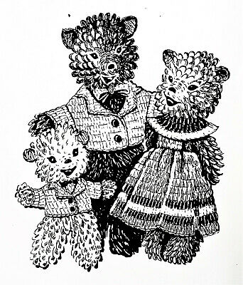 7108 Vintage Design THREE BEARS & CLOTHES Pattern to Crochet (Reproduction)