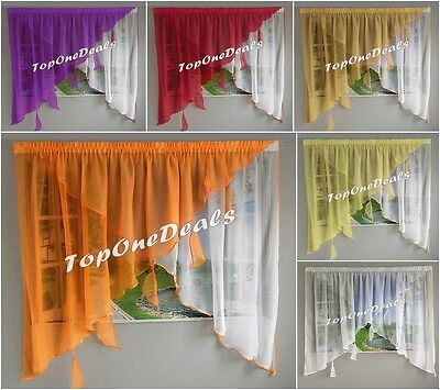Amazing Voile Net Curtain with Colours Leaves Ready Made Living Dining Room