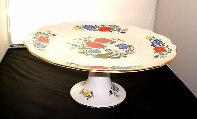 Aynsley Famille Rose Footed Cake Plate / Pedestal Stand / Exc. Cond.