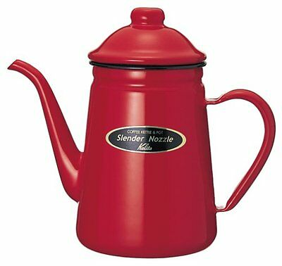 Kalita Narrow Opening Enamel Pot 1L Red