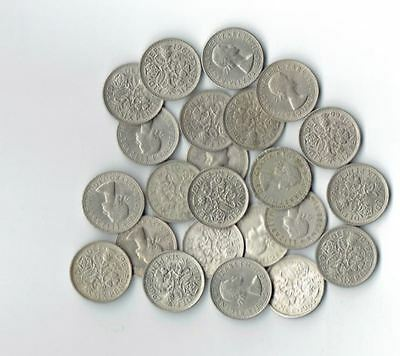 "Lot of 25 UK Sixpences Great Britain ""Something Old something New"" * 25 Coins *"