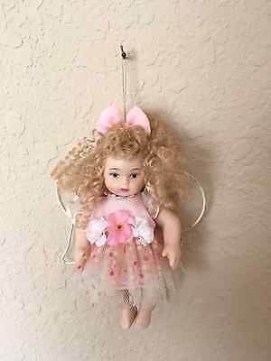 Porcelain Doll Angel Ornament (6.5 in) - Pink & White