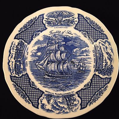 Four Blue Fair Winds Dinner Plates, Alfred Meakin Staffordshire