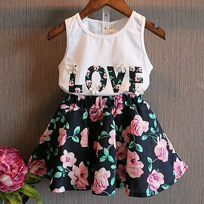 2pcs Outfits Set Toddler Kids Baby Girls Clothes T-shirt Tops And Skirt AU