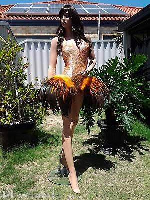 Brazilian SAMBA BODY LEOTARD Carnival Costume Size 8-10 Drag Queen Stage Dance