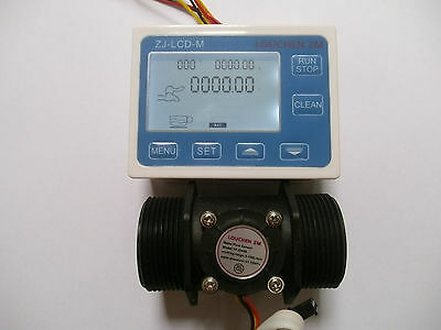 "1.5""  Flow Water Sensor Meter+Digital LCD Display control 5-150L/min"