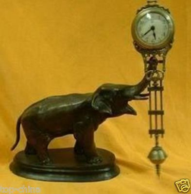 Collectable Chinese Beautiful pendulum clock bronze elephant statue