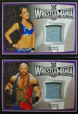 WWE 2015 ROAD TO WRESTLEMANIA Mat - Shirt RELIC + Autograph Card singles TOPPS