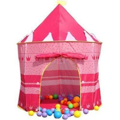 Portable Pink Princess Folding Tent Kids Child Girls Castle Cubby Play House