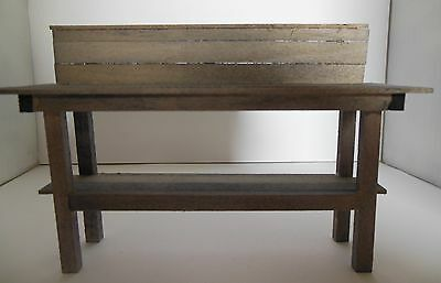 Dollhouse Miniature Handcrafted wood garden potting table with shelf grey aged