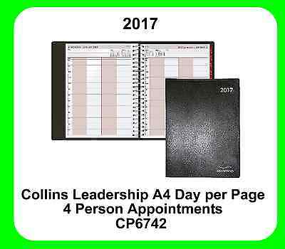 Collins 2017 Leadership Diary A4 Day Per Page 4 Person Appointment Black- CP6742