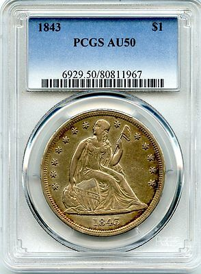 C7623- 1843 Seated Liberty Dollar Pcgs Au50