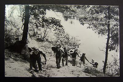Silver Creek Trail OWASIPPE SCOUT CAMPS Michigan postcard RPPC BSA stamped 1970