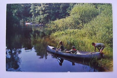 Canoeing at OWASIPPE Scout Reservation, MI postcard, postmarked Twin Lake 1968