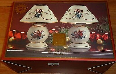 Lenox WINTER GREETINGS Mini Candle Lamps Set of 2 w/Box Christmas Candle Holders