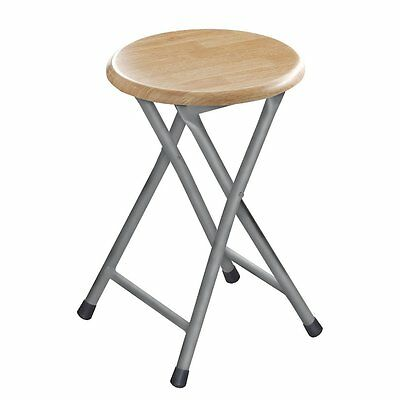 47Cm Natural Wood Folding Stool Chair Round Wooden Seat Silver Metal Frame