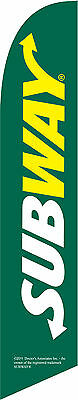 Green Subway 12ft Feather Banner Swooper Flag - FLAG ONLY
