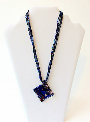 Vintage Blue Dichroic Iridescent Necklace, Art Deco Glass Pendant, Abstract