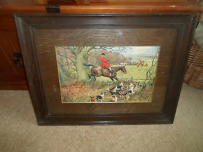 "Old Wood Framed Hunting Print ""Leaving Cover"" Strong Colours Horses+Hounds"