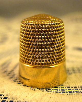 10K Yellow Gold ~ SIMON'S BROTHERS THIMBLE ~ Size 8