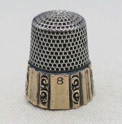 Sterling ~ KETCHUM & MCDOUGALL THIMBLE ~ Silver Size 8 (1875-1932)