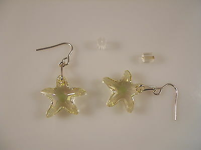 Sterling Silver, Faceted Luminous Green Starfish Swarovski Element Earrings