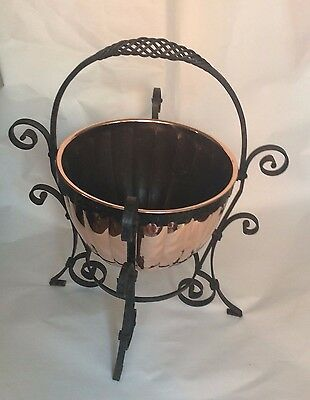 Vintage Copper Jardiniere Planter/Coal Bucket On Wrought Iron Stand Arts &Crafts