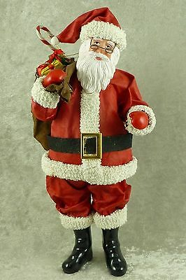 """Midwest Cannon Falls Fabric Mache Santa Figurine Cathy Lundeen Huber 10"""" Tall"""