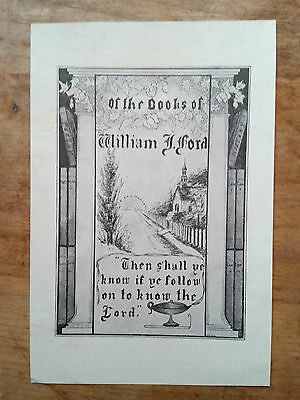 Ex Libris Bookplate for William Ford, religious quote country lane, hand drawn