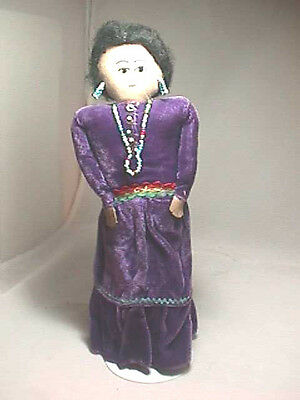 cloth doll Navajo woman original costume turquoise earrings necklace