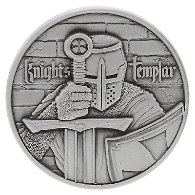 Knights Templar 2 oz .999 Silver Ultra High Relief Antiqued Finish Round US Coin