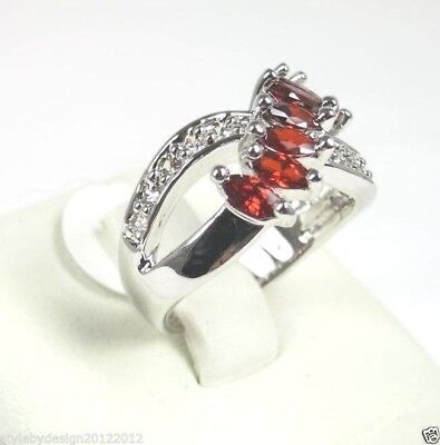 R#3937 simulated Red Garnet gemstone Marquise cut ladies silver ring size 7.25