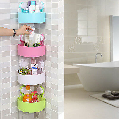 Plastic Bathroom Corner Storage Rack Organizer Shower Shelf Suction Cup LA