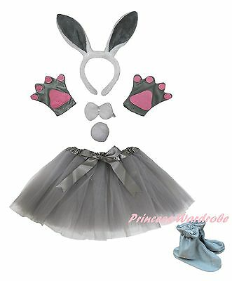 Gray Rabbit Bunny Easter Headband Bow Tail Paw Shoes Skirt 6p Kids Party Costume