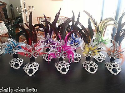 SAMBA Costume small Headpiece  8 Colors Real Feathers Mirror Headdress NEW