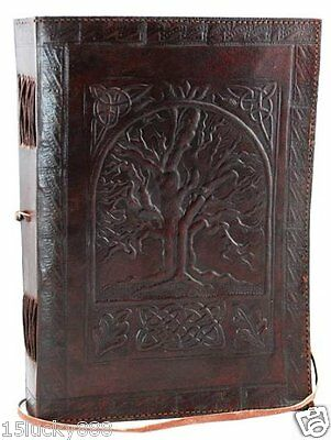 "Vintage Large Tree of Life Leather Blank Book Diary Journal 200 Pages 7""x10"""