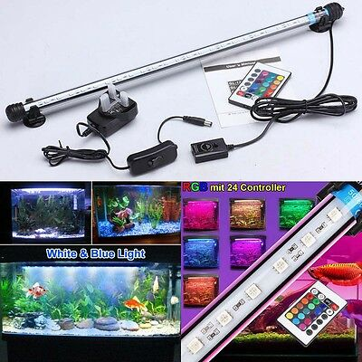 Aquarium Fish Tank 5050 SMD RGB White&Blue Color LED Light Bar Lamp Submersible