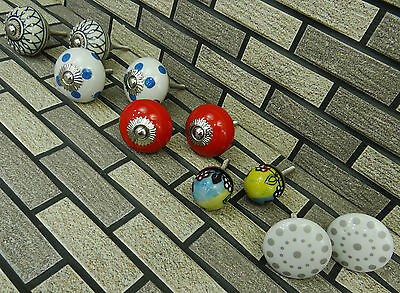 5 Pair Vintage Hand Painted Kitchen Drawer Cabinet Ceramic Cupboard Pull Knobs