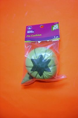 Dritz Lime Green Tomato Pin Cushion - 2 3/4 inch diameter with a Emery Sharpner