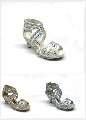 New Kids Girls Party Wedding Rhinestone Heel Sandals Size 9-4