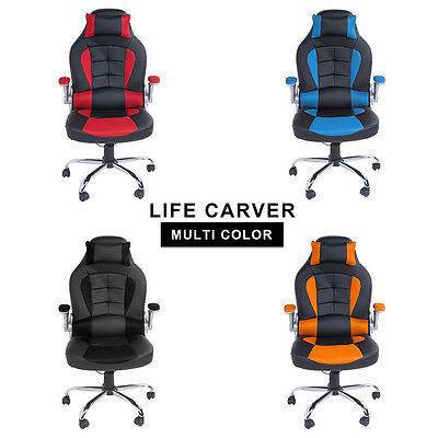 BTM Gaming Chair Racing Office Swivel PU Leather Computer Office Desk Chairs Red
