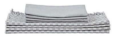 j. Elliot HOME Grey & White Gingham Checked Napery SET Placemats Napkins COTTON